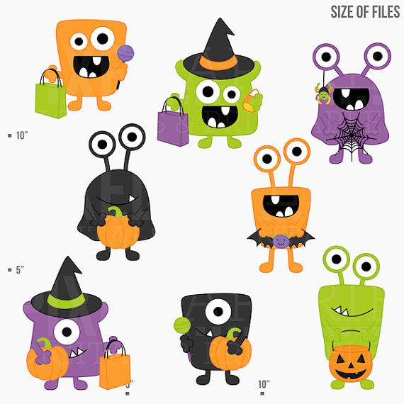 halloween monsters clipart clip art digital.