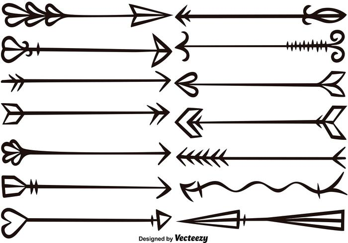 Vector Hand Drawn Arrows Set.