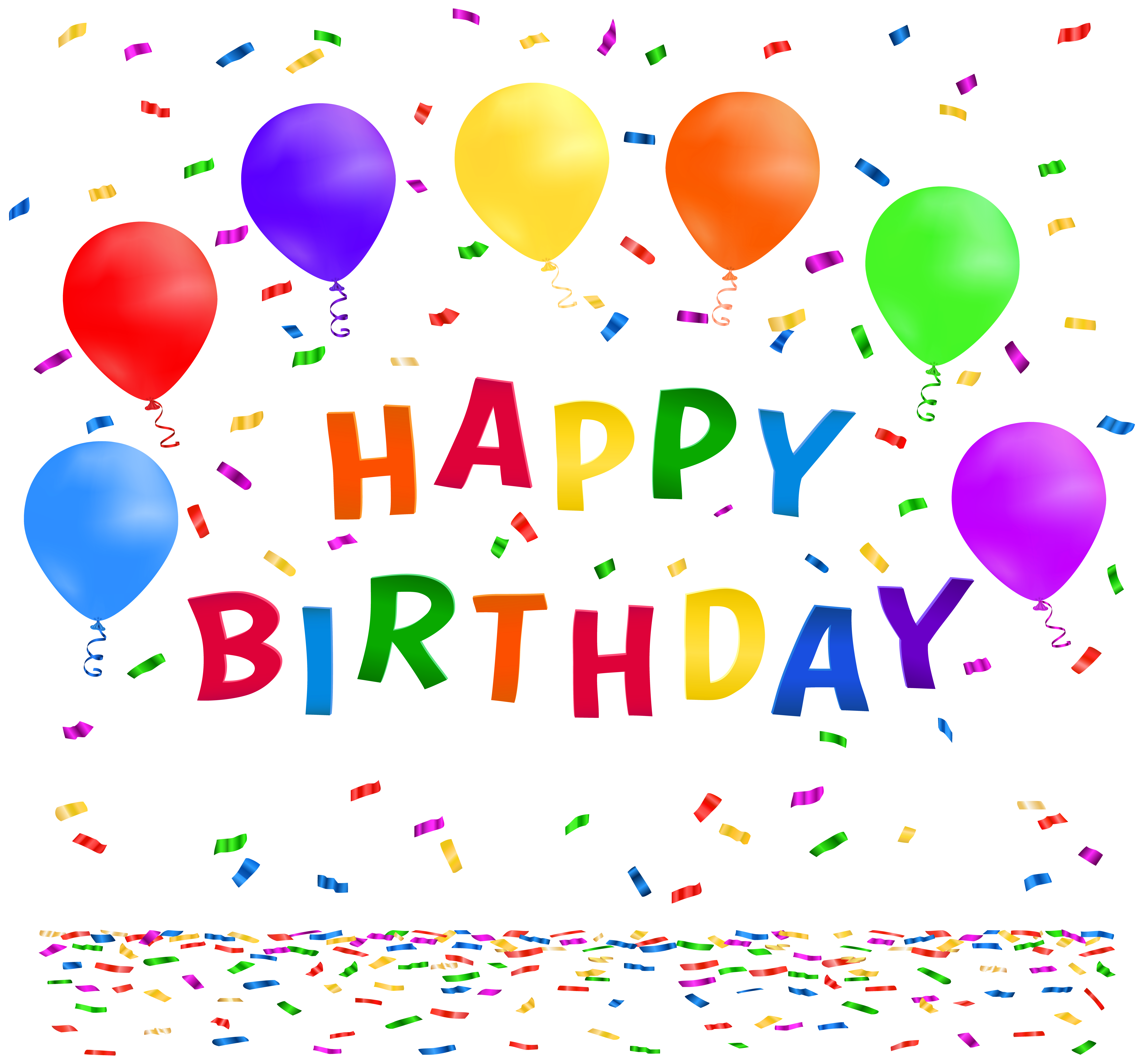 Happy Birthday with Confetti PNG Clip Art Image.