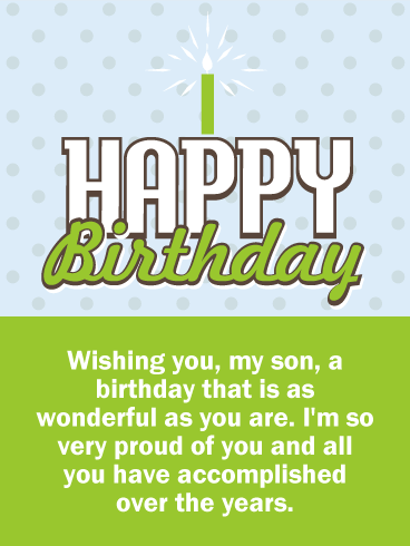 So Proud of You! Happy Birthday Wishes Card for Son.