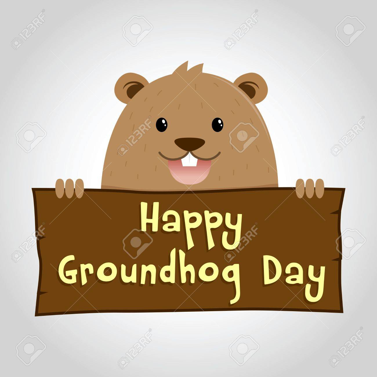 Groundhog holding wooden sign saying happy groundhog day, vector...
