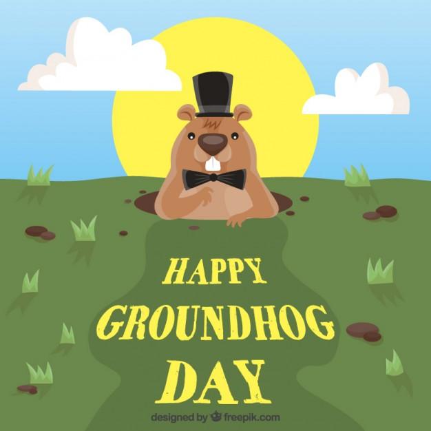 Happy groundhog day background Vector.