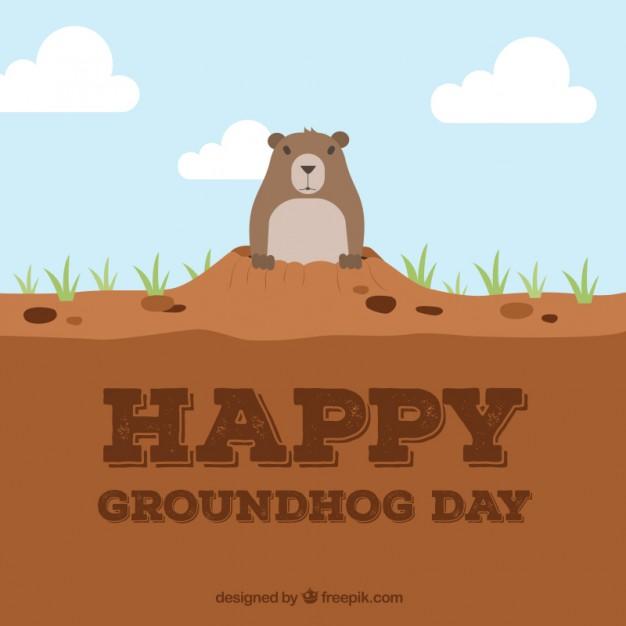 Happy Groundhog Day Free Vector.