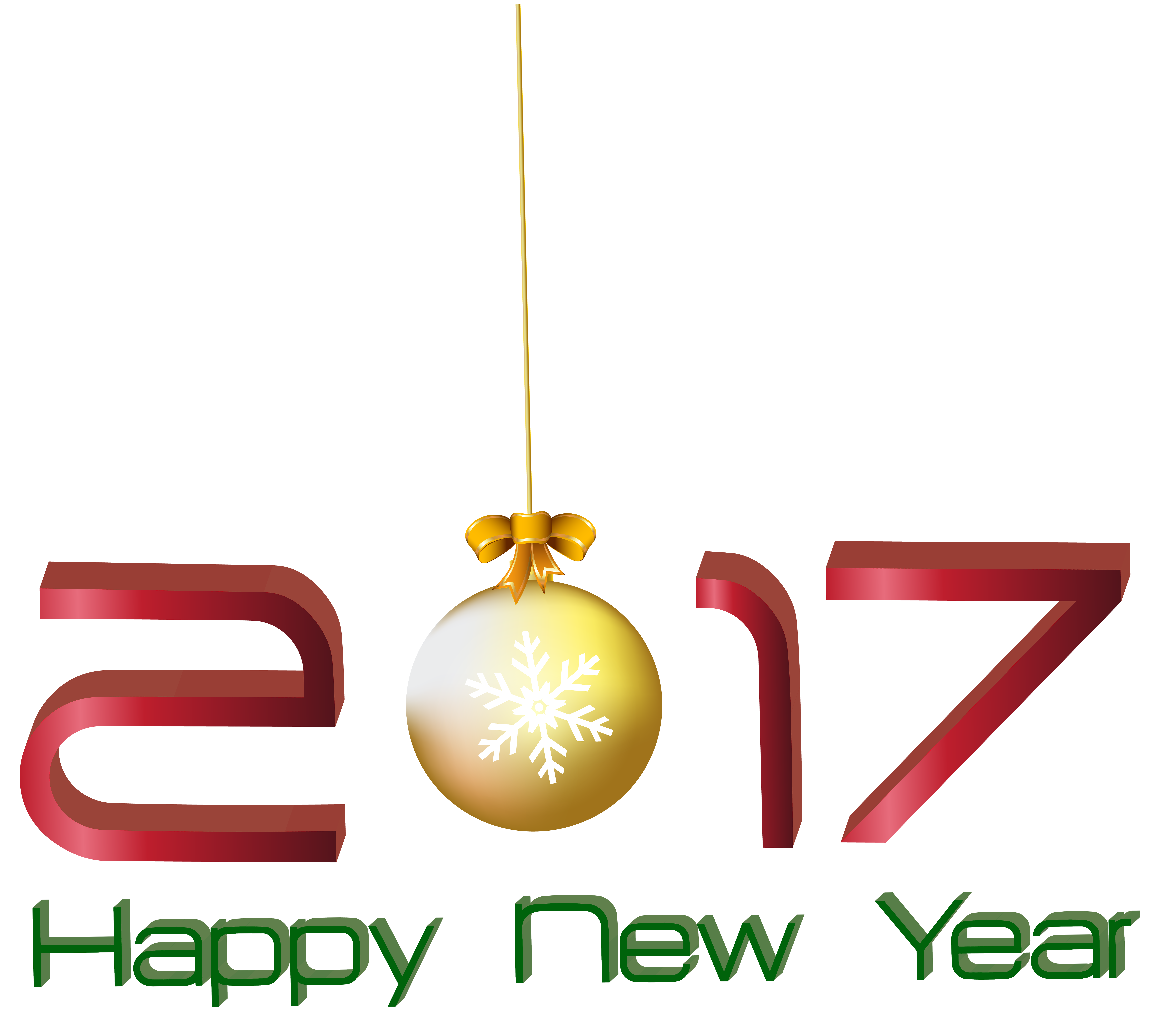 2017 Happy New Year Transparent PNG Clip Art Image.