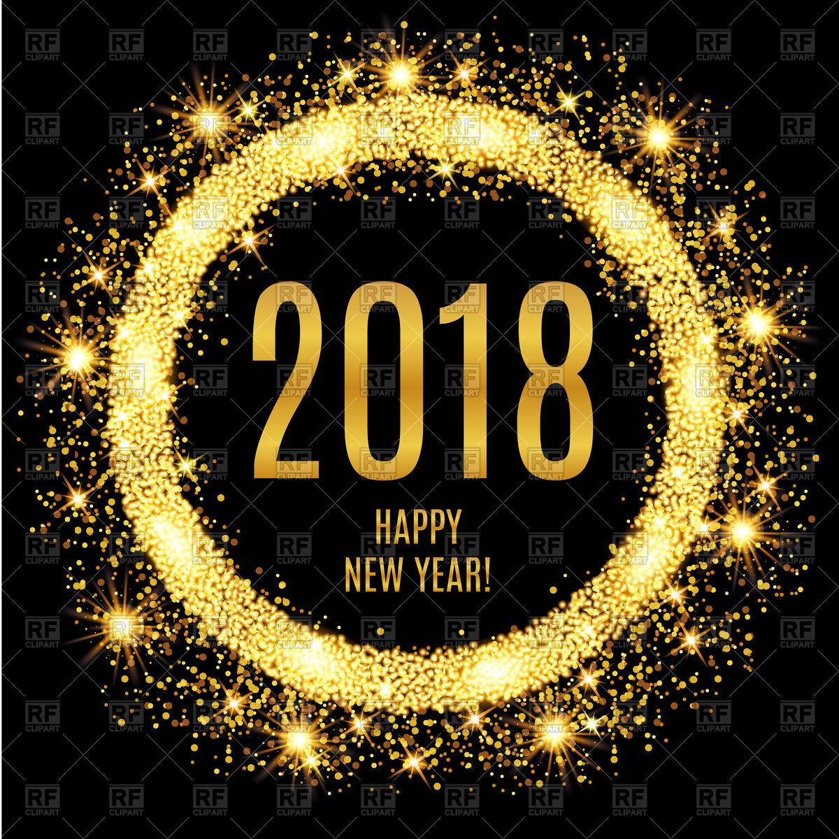 2018 Happy New Year glowing gold background Vector Image.