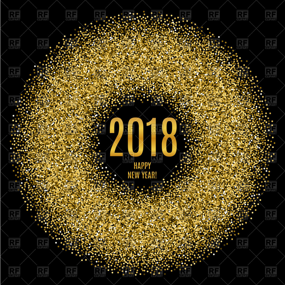 2018 Happy New Year poster with glitter circle Stock Vector Image.