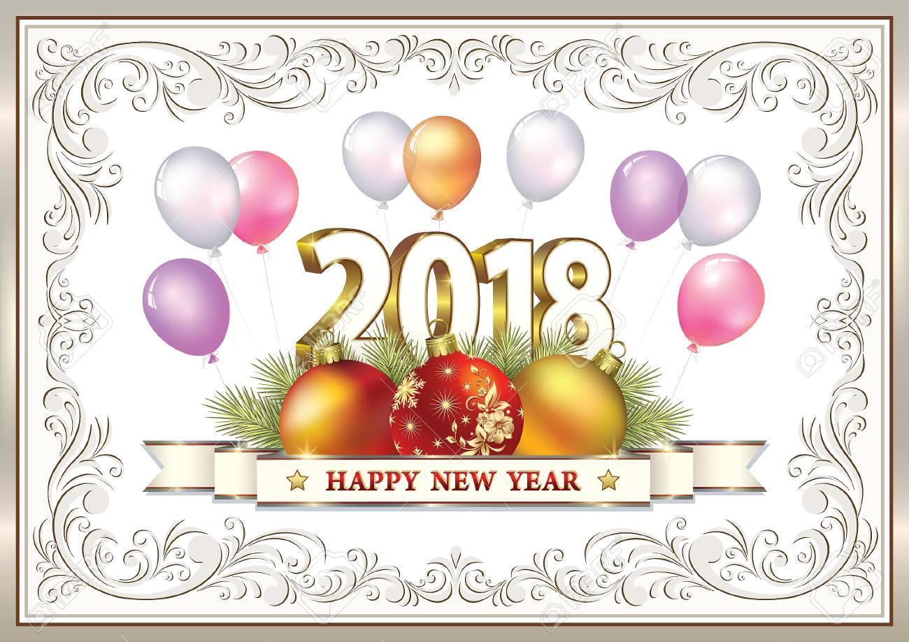 Postcard Happy New Year 2018.