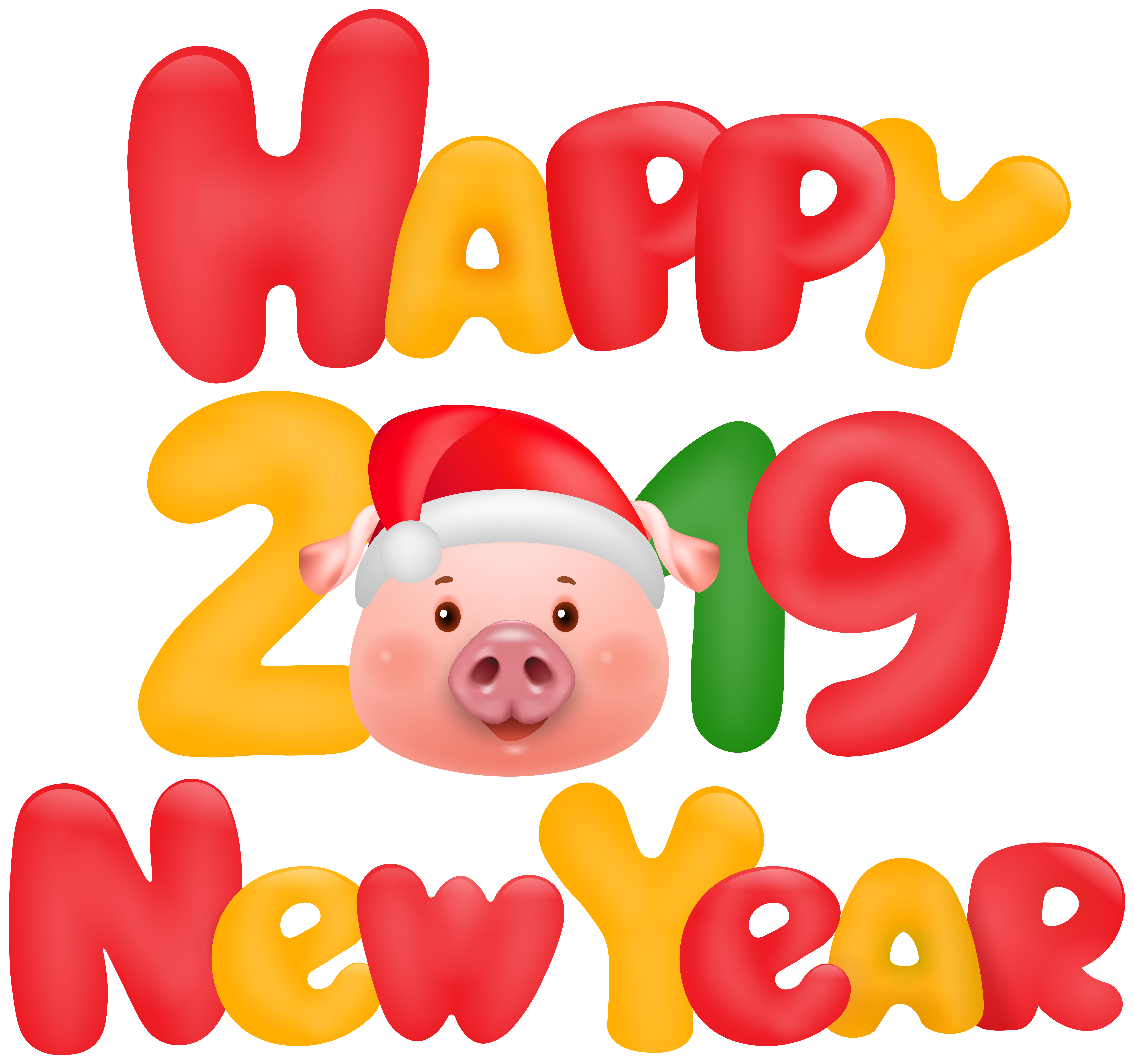 Happy New Year 2019 Pig Clip Art Image.