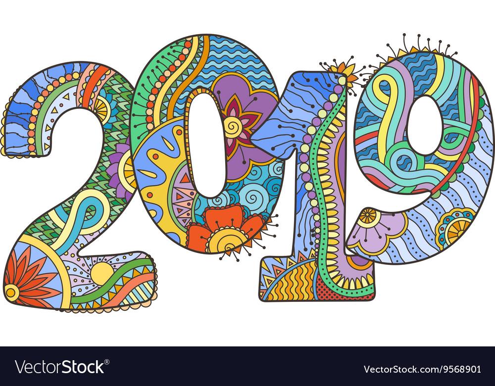 Happy New Year 2019 celebration number.