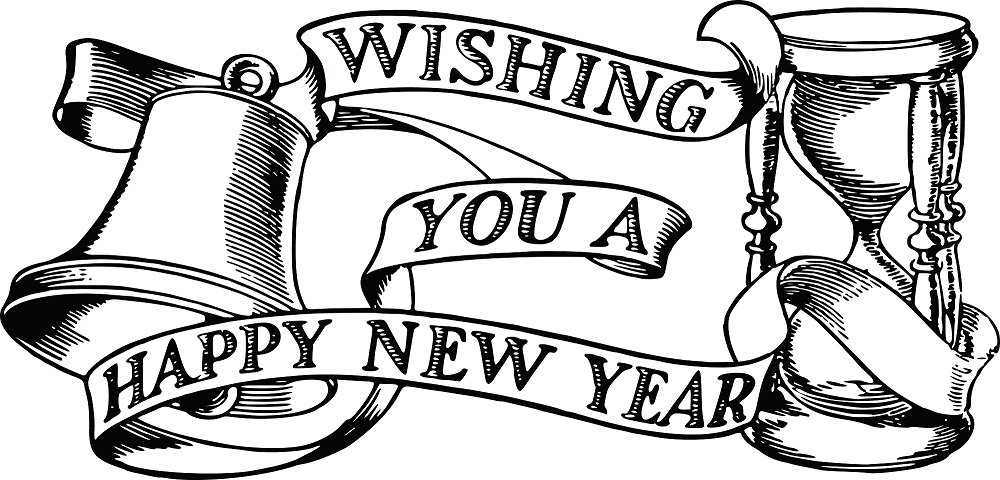 Free Clipart Of A bell hourglass and happy new year banner » Clipart.