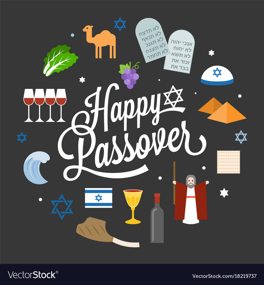 Happy passover poster pictogram with moses.
