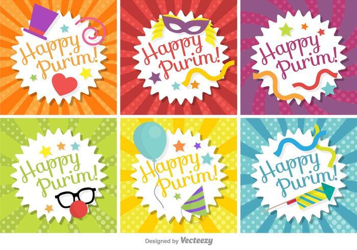 Happy Purim Tag Set Vector.