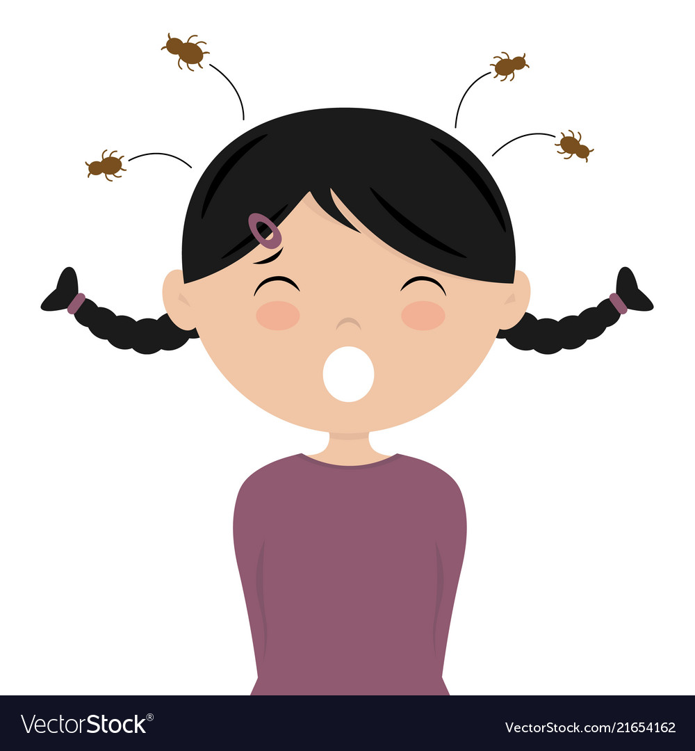 Girl with head lice.