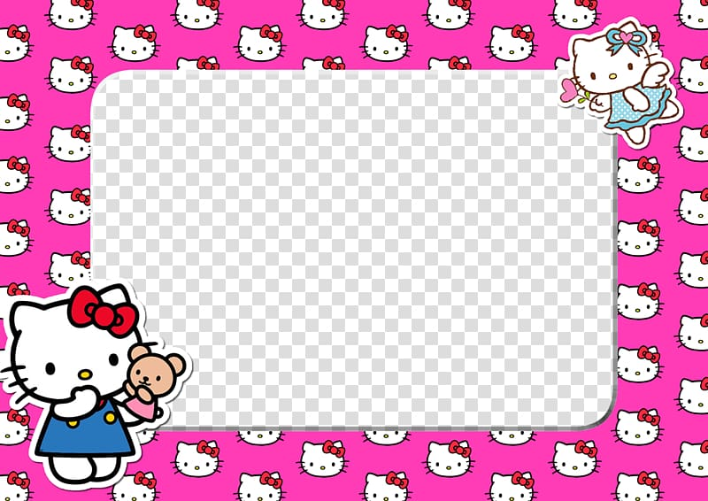 Pink and white Hello Kitty frame, Hello Kitty Frames Animation.