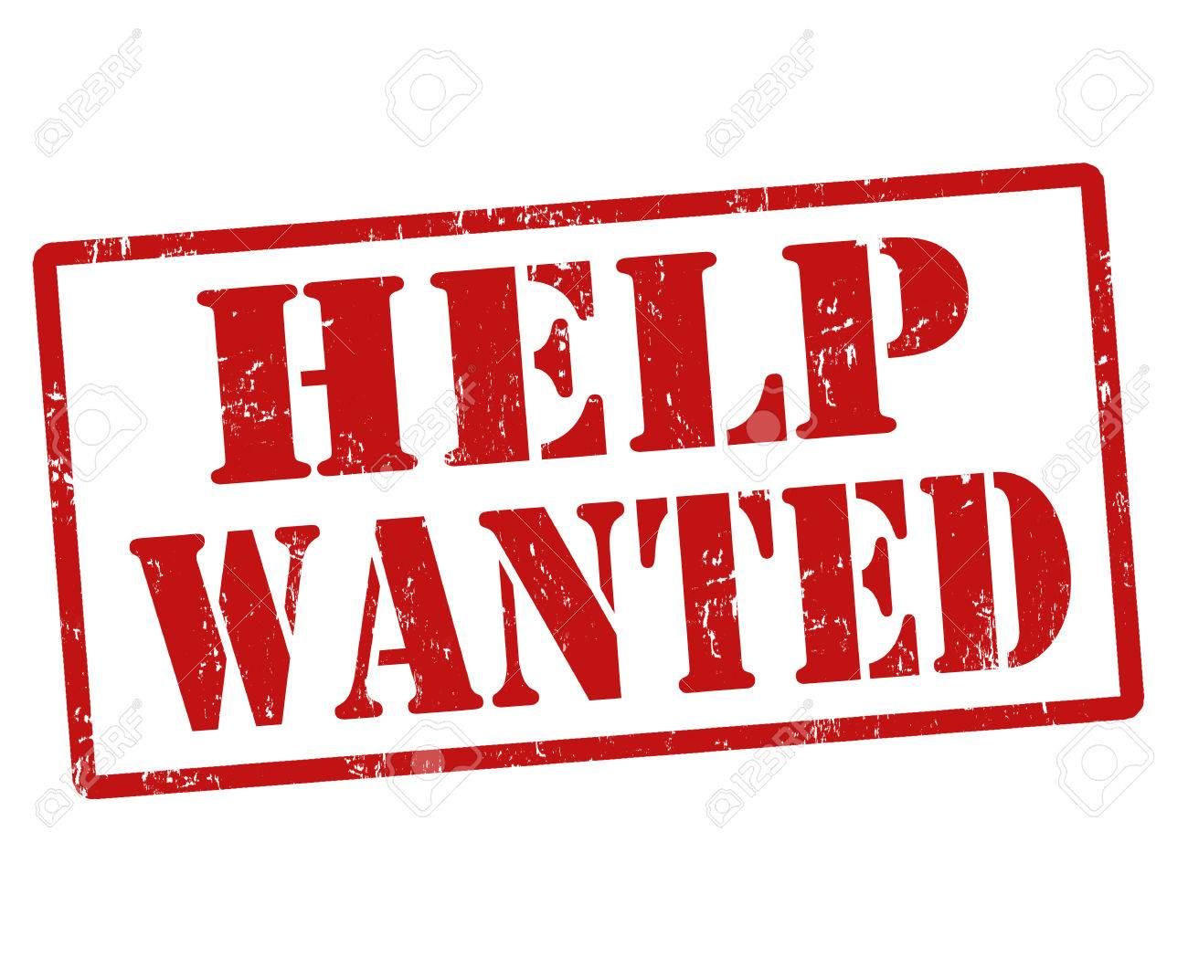 Help Wanted grunge rubber stamp on white, vector illustration.