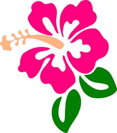 Hibiscus Pink Green clip art.