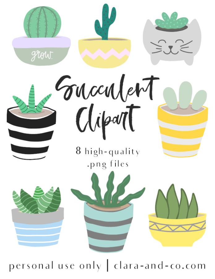FREE Succulent Clipart.
