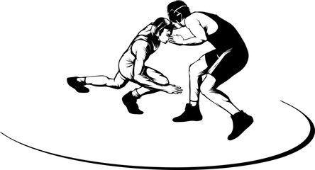 High School Wrestling Drawings.