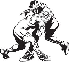 1658 Wrestling free clipart.