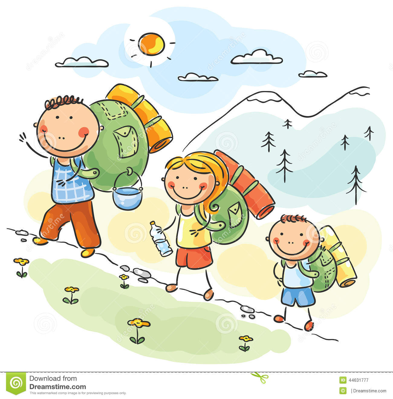 Family Hike Clipart.