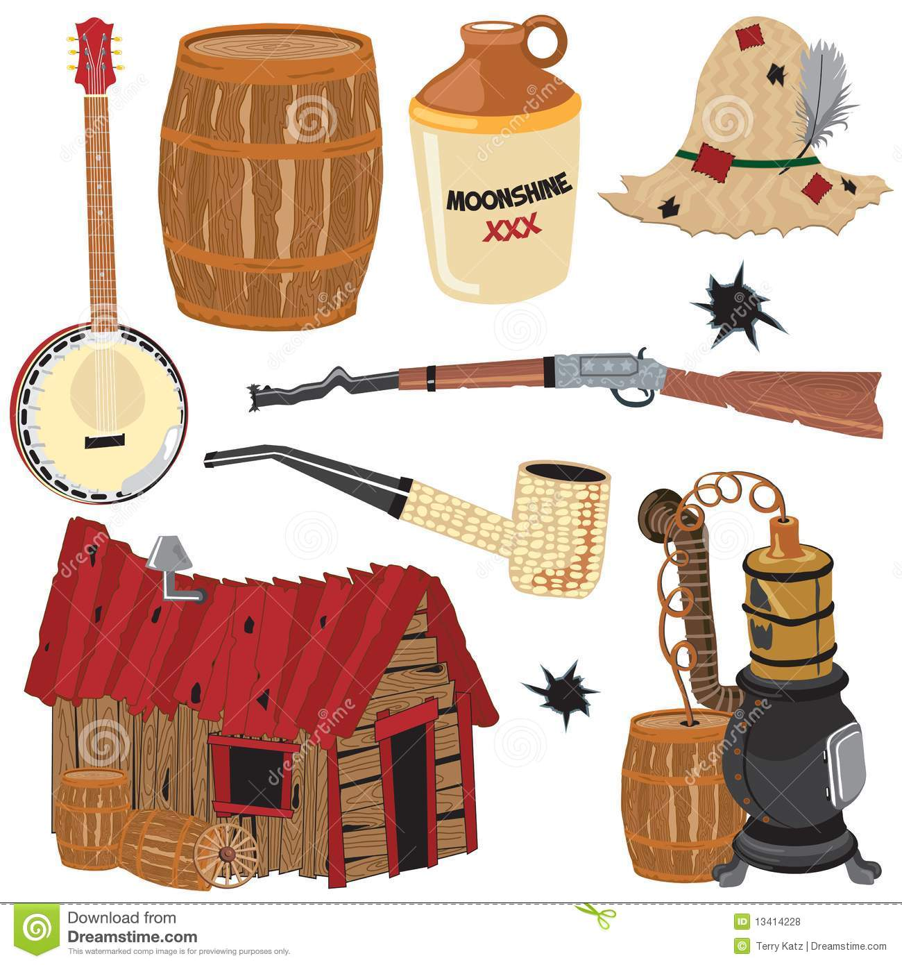 Hillbilly Clipart Icons And Elements Royalty Free Stock Photos.