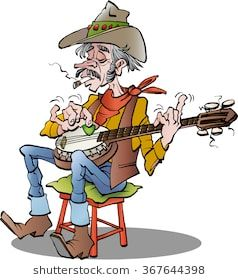 Vector cartoon illustration of a country banjo player.