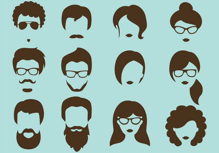 Hipster Vector Silhouettes.