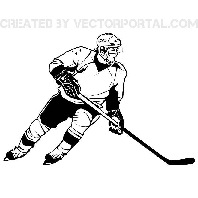 Hockey Player Graphics Free Vector.