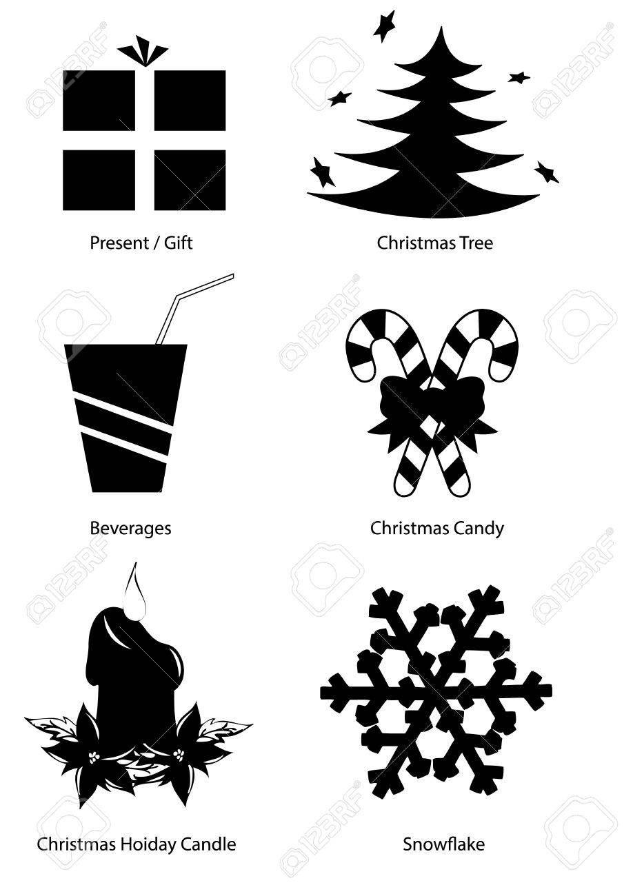 Christmas Holiday Vector Clipart set, black and white silhouettes,...