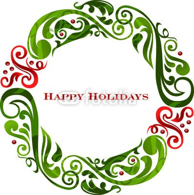 Vector: Vector graphic scroll holiday wreath..