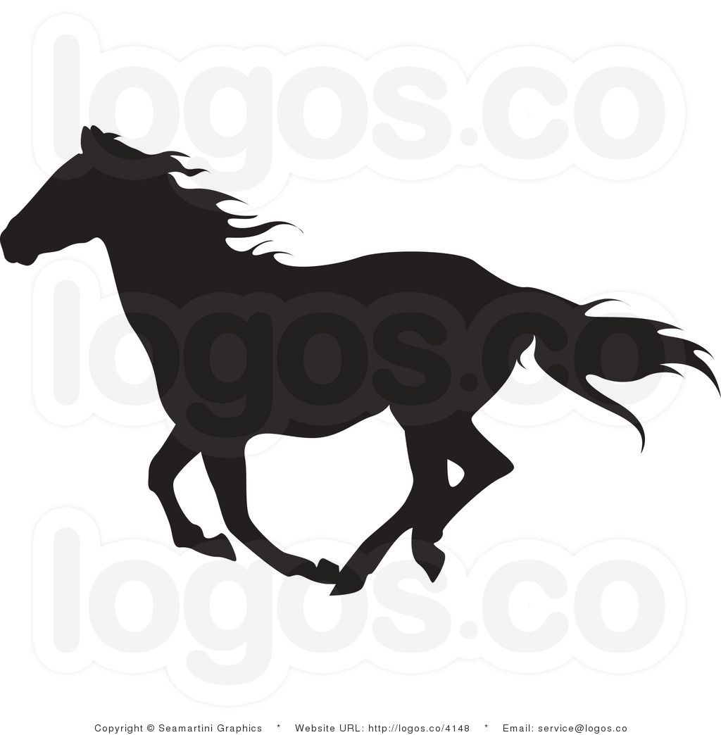 Royalty Free Black Horse Running Logo.
