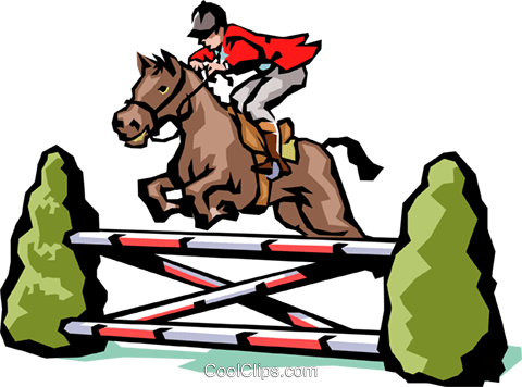 Horse jumping Royalty Free Vector Clip Art illustration.