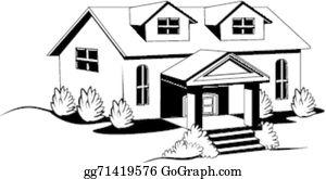 House Black And White Clip Art.