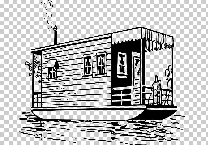Houseboat PNG, Clipart, Black And White, Boat, Boathouse, Drawing.