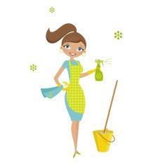 Eco housewife vector art illustration.