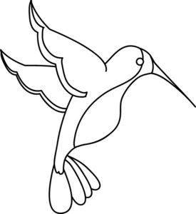 Hummingbird Clipart Image: Clip Art Illustration Of An Outline Of A.
