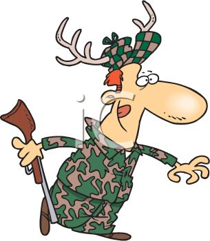 Camouflage Hunting Cartoon Clipart.