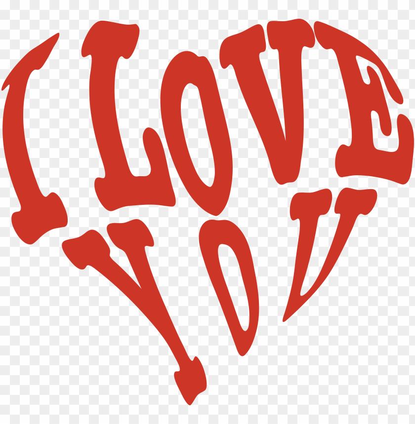 clipart i love you PNG image with transparent background.