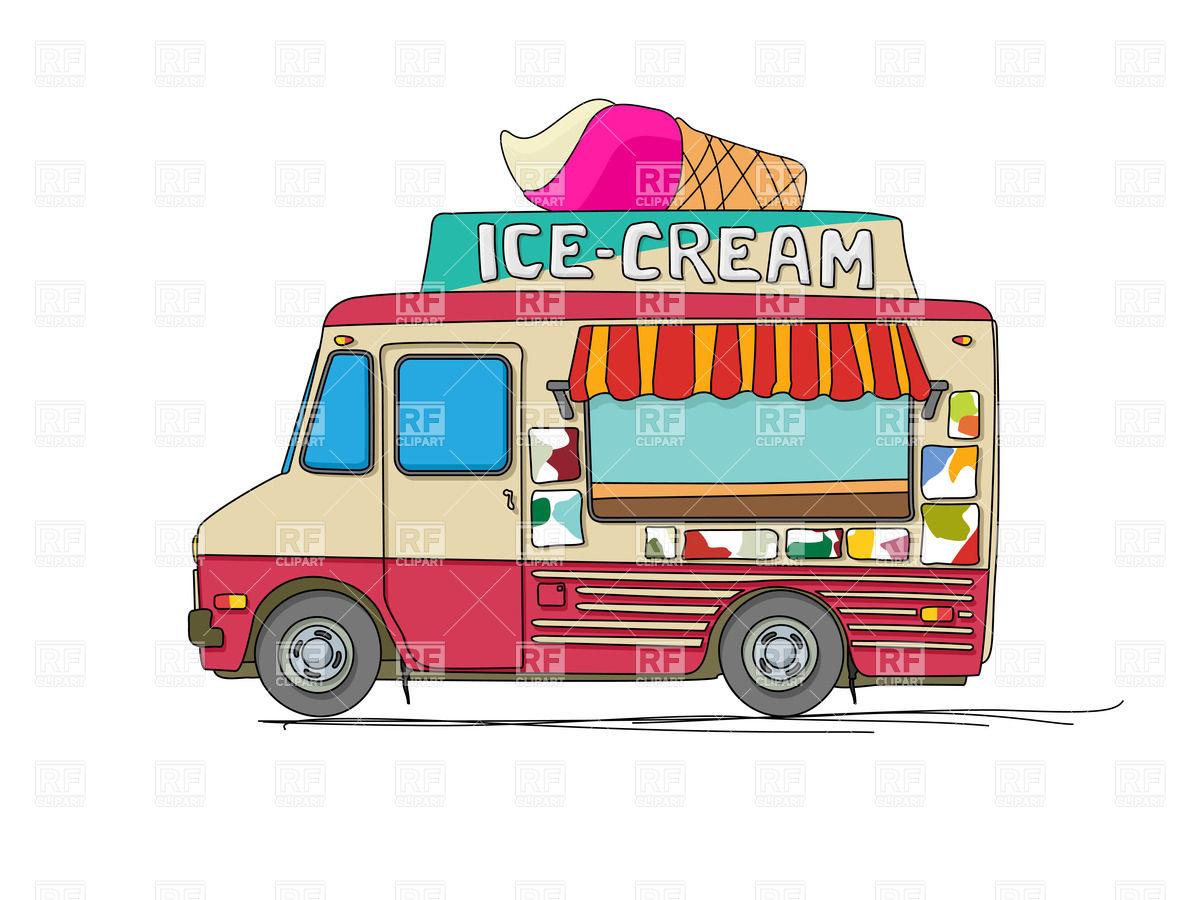 Ice cream delivery cartoon van Stock Vector Image.