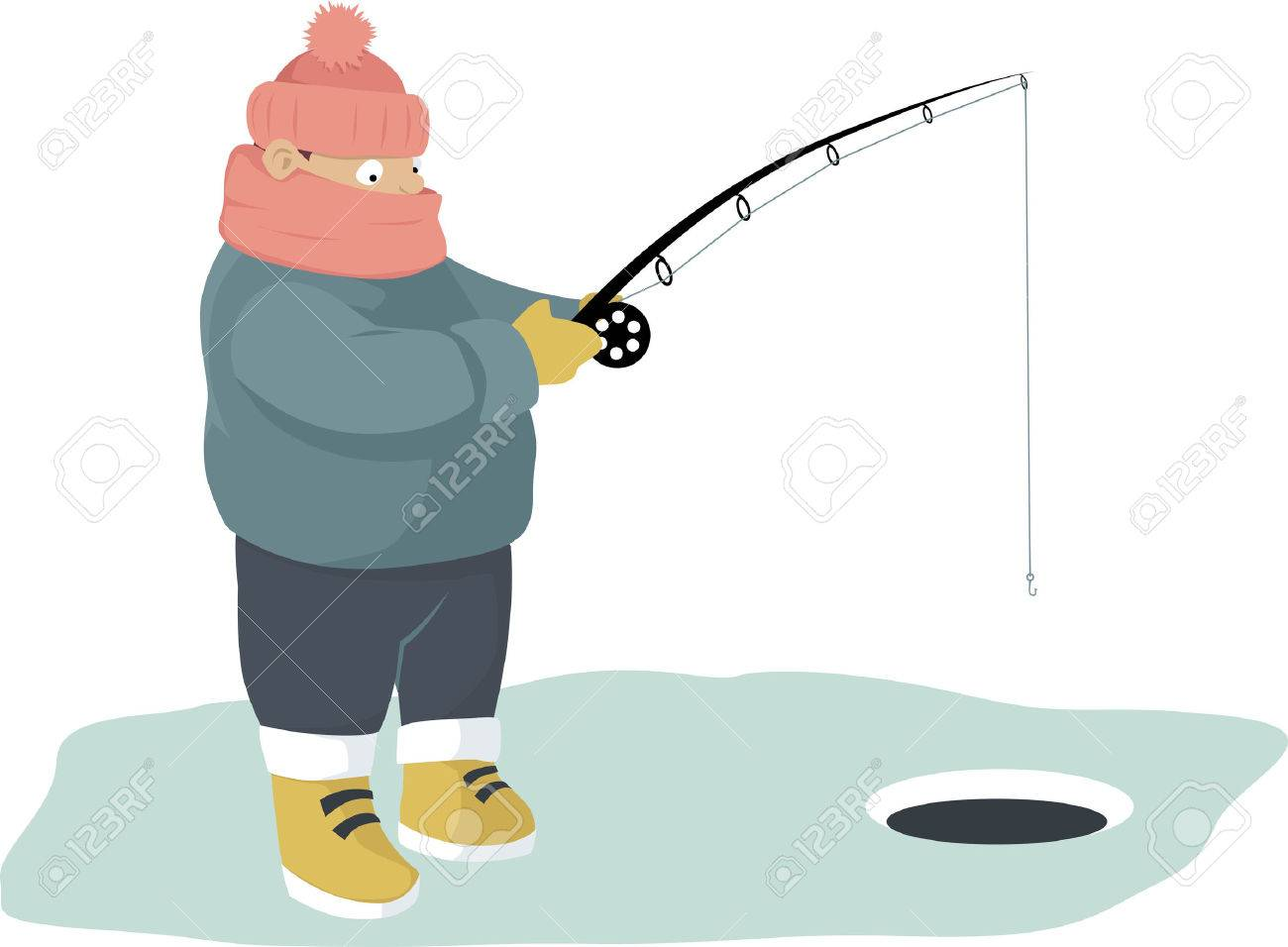 Warmly dressed person ice fishing.