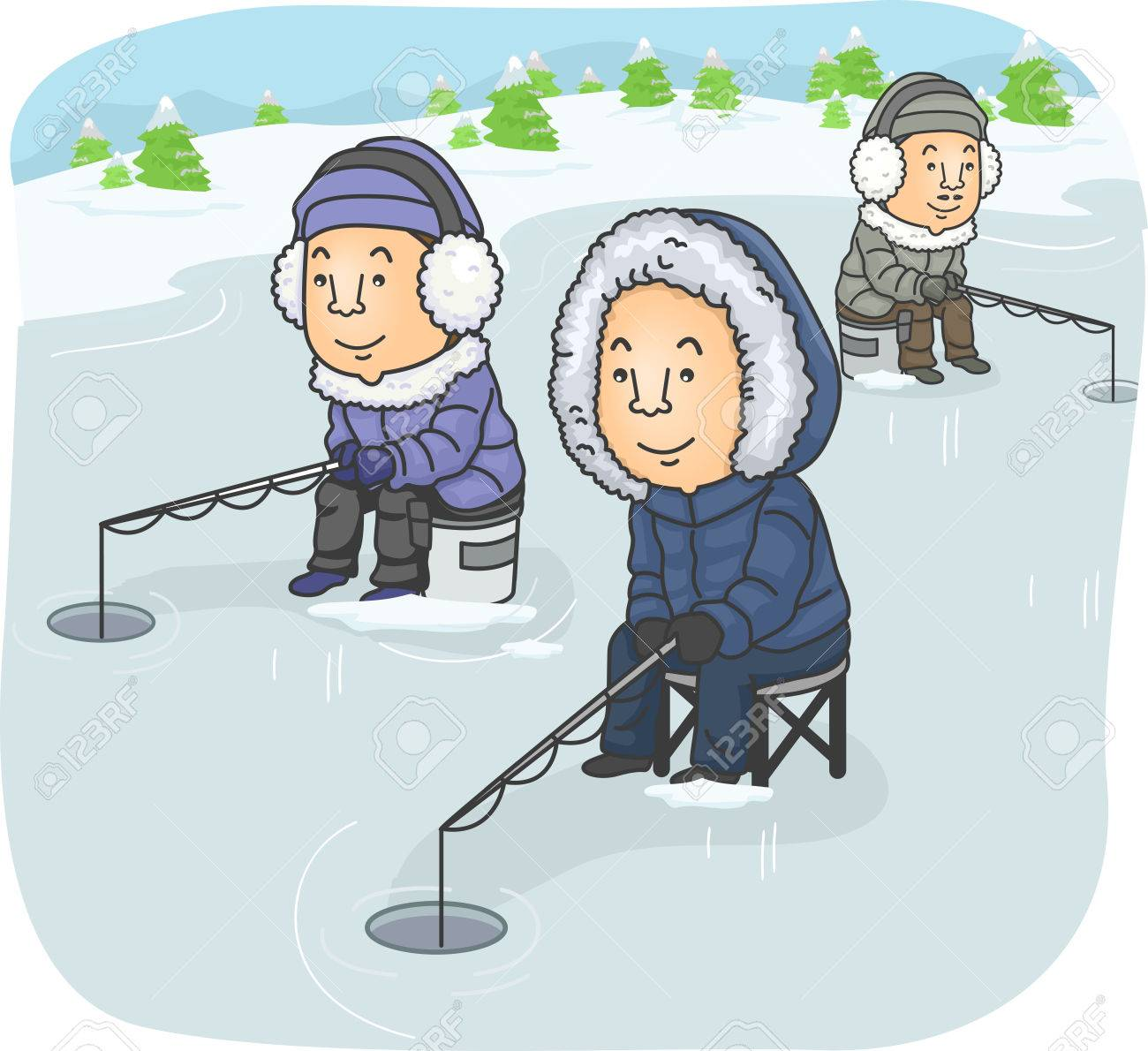 Illustration Featuring a Group of Men Ice Fishing.