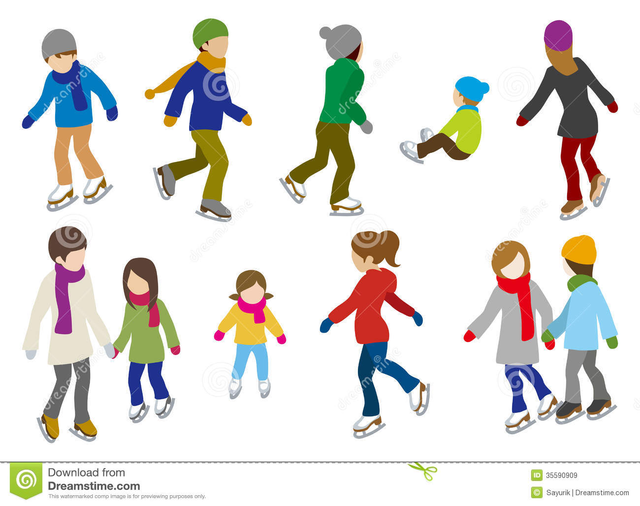 People Ice Skating Clipart.