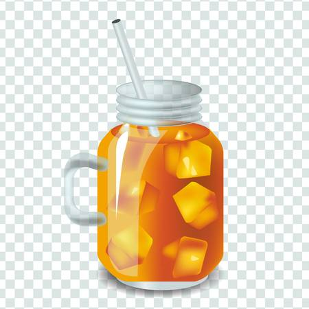 Vector illustration in real style about iced tea with ice.
