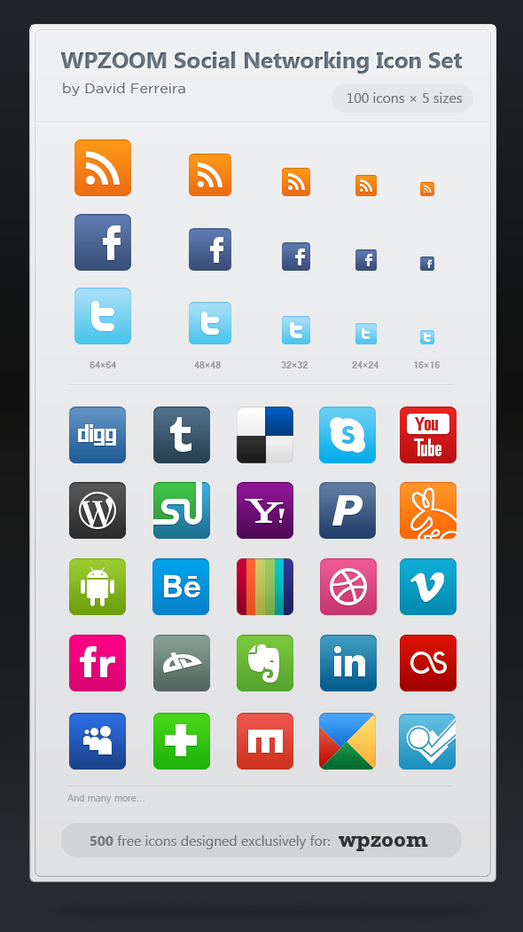 500 Free Icons: WPZOOM Social Networking Icon Set.