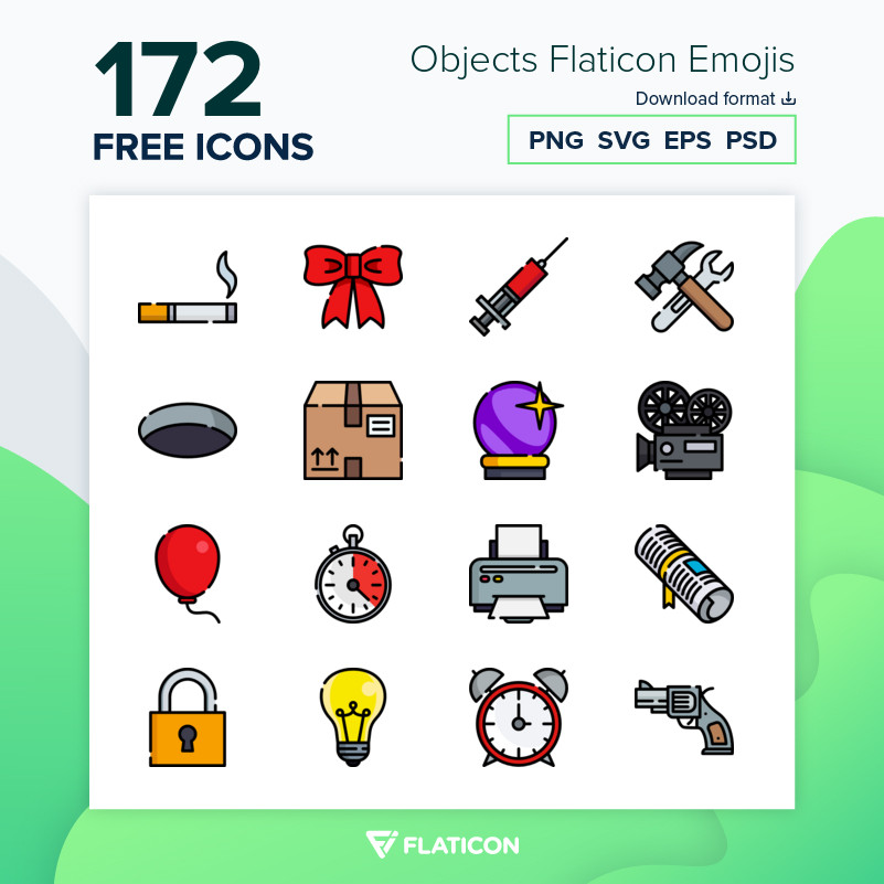 Objects Flaticon Emojis +170 free icons (SVG, EPS, PSD, PNG.