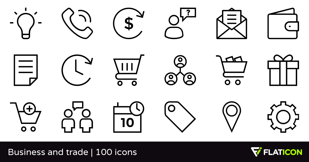 Business and trade 100 free icons (SVG, EPS, PSD, PNG files).
