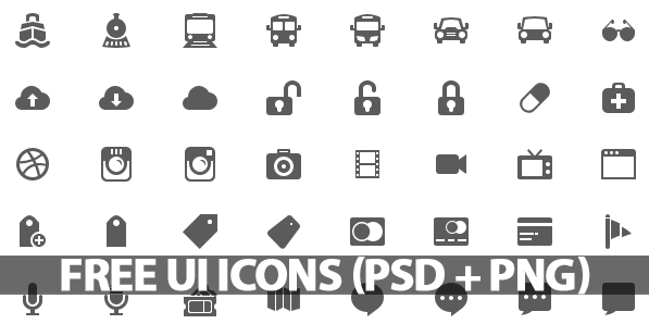 500+ Free UI Icons (PSD + PNG).