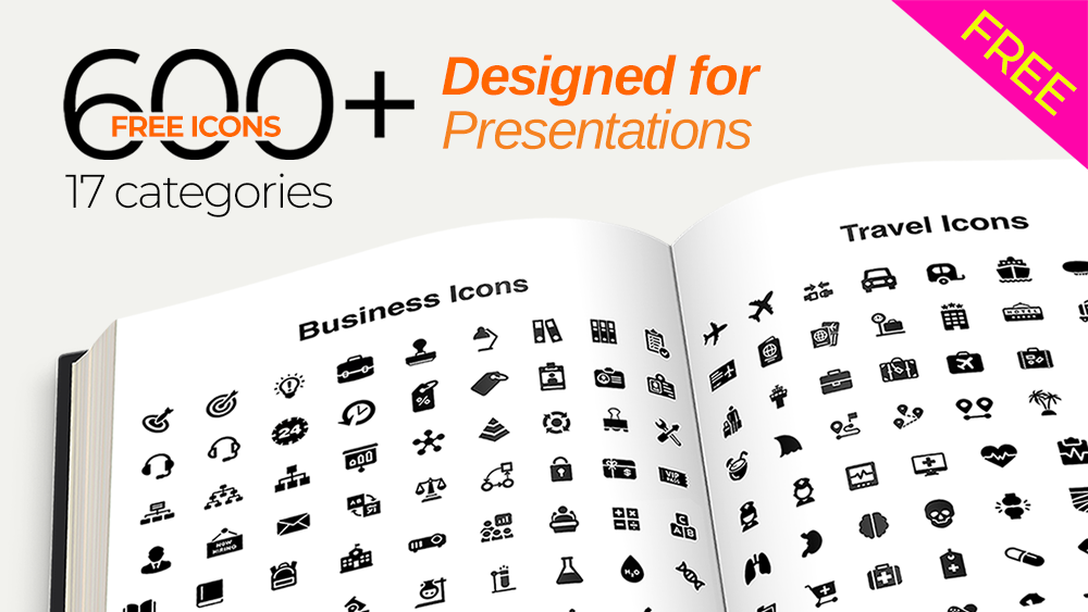 Download 600+ FREE Vector Icon Pack for Presentations.