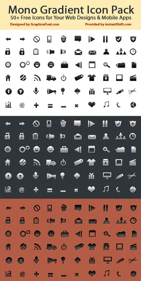 Mono Gradient Icon Pack: 50+ Free Icons for Your Web Designs.