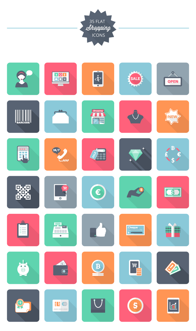 Freebie] Flat Shopping Icon Pack: 35 Free Shopping Icons.
